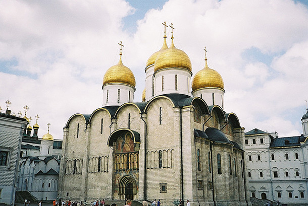 russian building with bright yelow roof