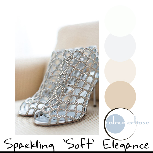 silver wedding shoes with color palette