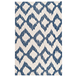 dark blue and white geometric rug