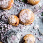 vanilla cream brioche donut with lilac sugar