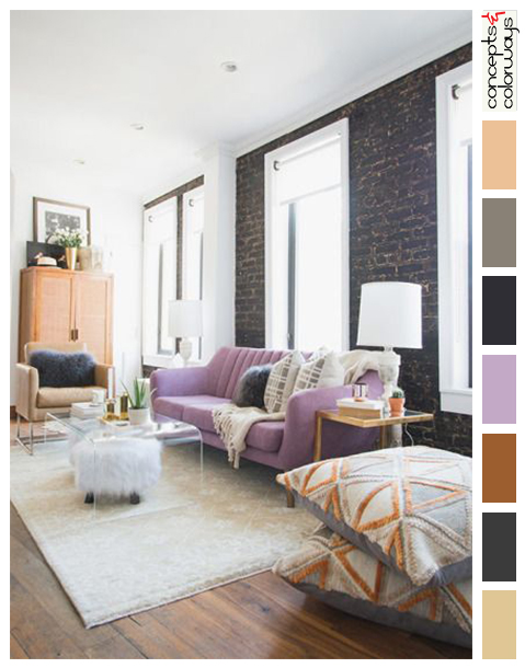 eclectic living room with light purple sofa