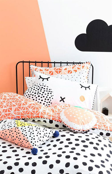 boldly patterned peach kids bedding