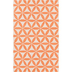 cadmium orange and white geometric rug