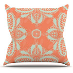 cadmium orange and white floral throw pillow square