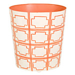cadmium orange and white waste basket