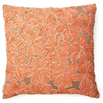 cadmium orange floral throw pillow
