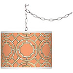 cadmium orange swag light fixture
