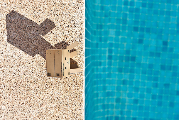danbo at edge of turquoise pool