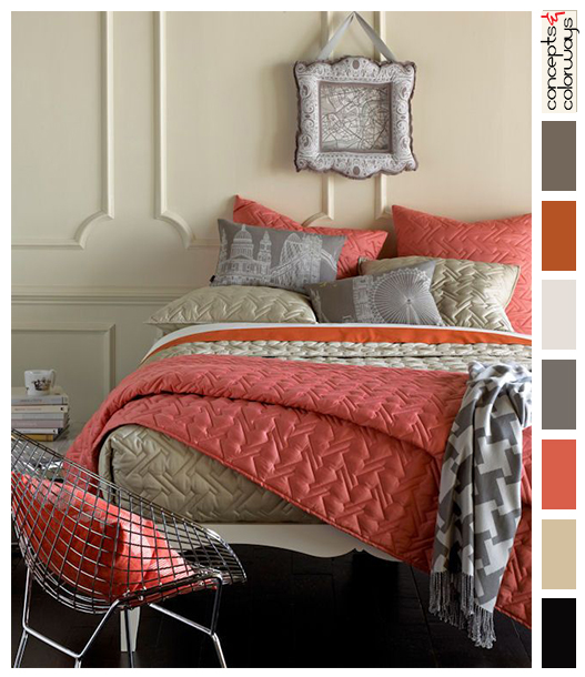 peach and gray bedroom color palette