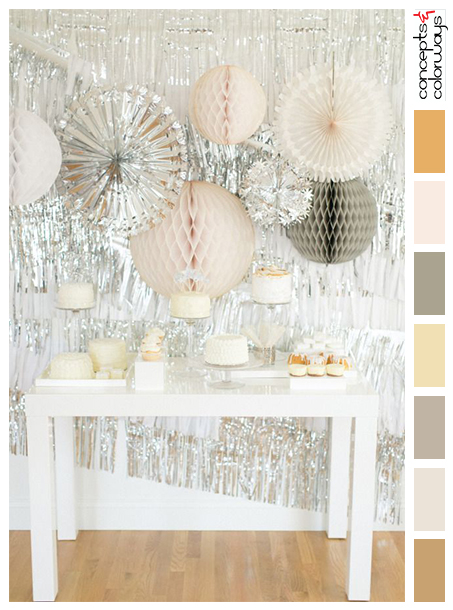 silver, soft pink, gray and white wedding decoration