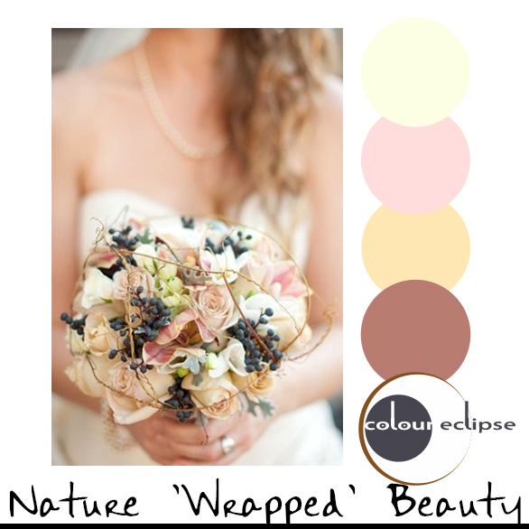 bridal bouquet with color palette
