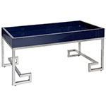 navy and stainless silver tray table