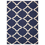 navy and white circle pattern area rug