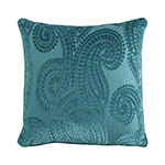 teal baroque paisley pillow