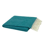 teal throw blanket with white fringe