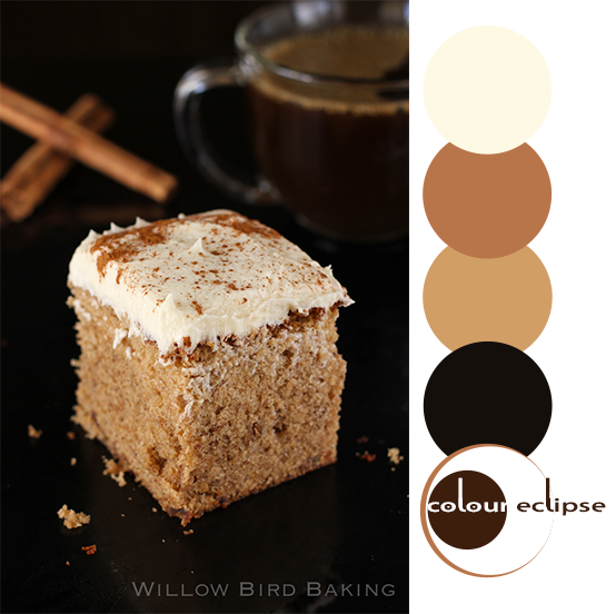 brown butter spice cake with color palette