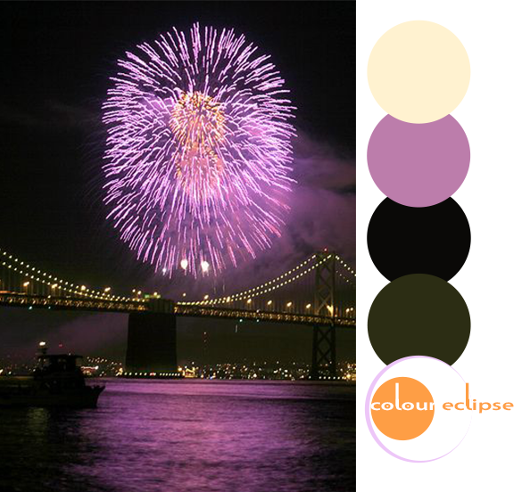 purple and orange fireworks over the bay bridge san fransisco