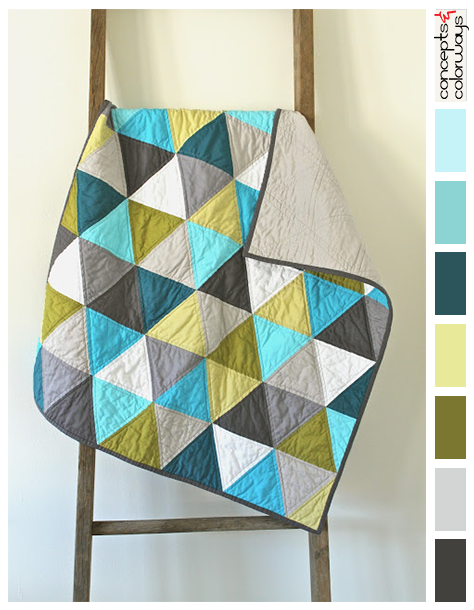triangle patterned quilt with color palette