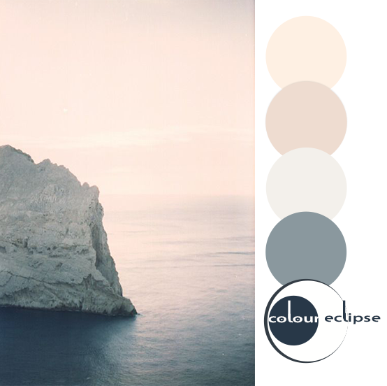 hazy ocean photograph with color palette