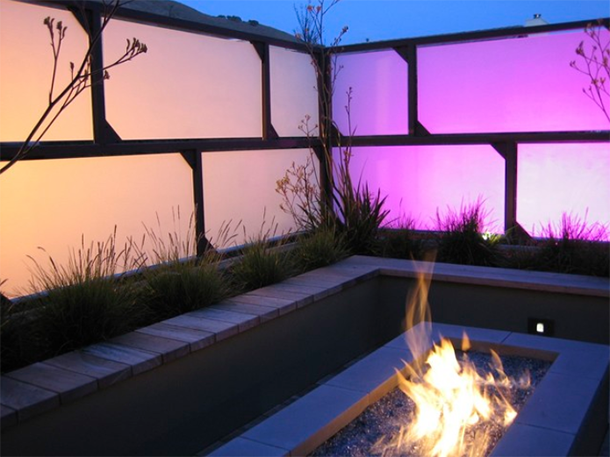 exterior fireplace at twilight purple tones