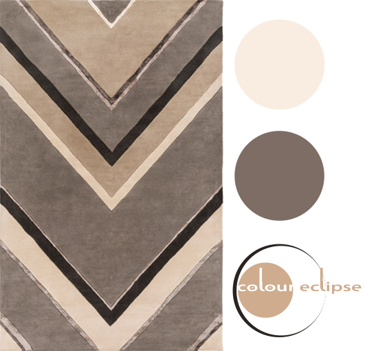 taupe and charcoal arrow print wool rug with color palette