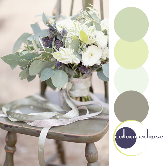 wedding bouquet on olive gray chair