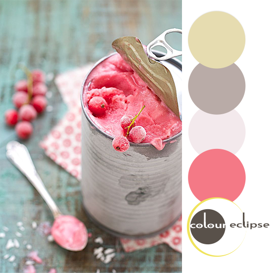 red currant and coconut ice cream with color palette
