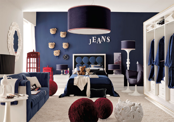 White and navy bedroom design