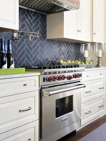 white kitchen with stormy weather backsplash