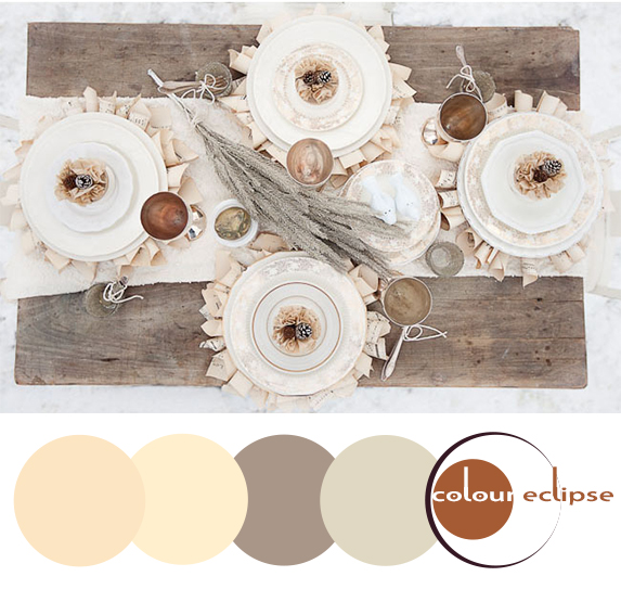 winter wedding table with color palette