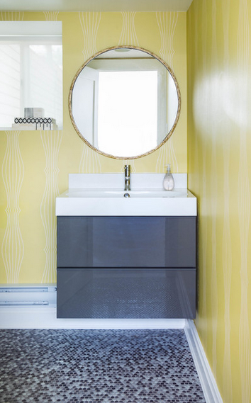 yellow and stormy weather gray-blue bathroom