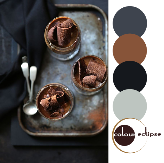 chocolate panna cotta with color palette