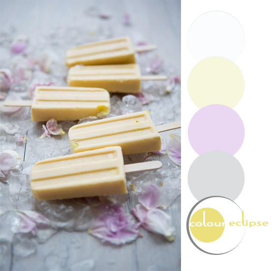 mango and banana smoothie popsicles with color palette