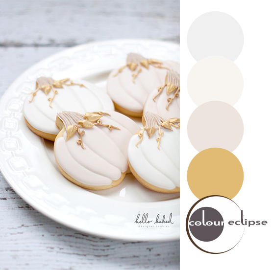 gilded pumpkin designer cookies with color palette
