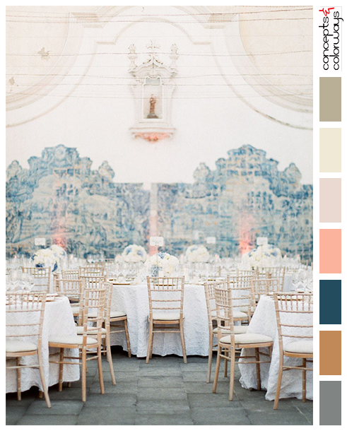 lisbon palace wedding reception with color palette