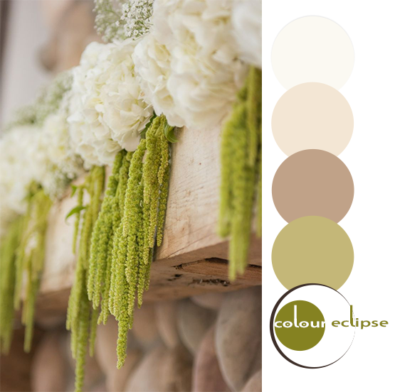 hydrangea and moss mantel decor