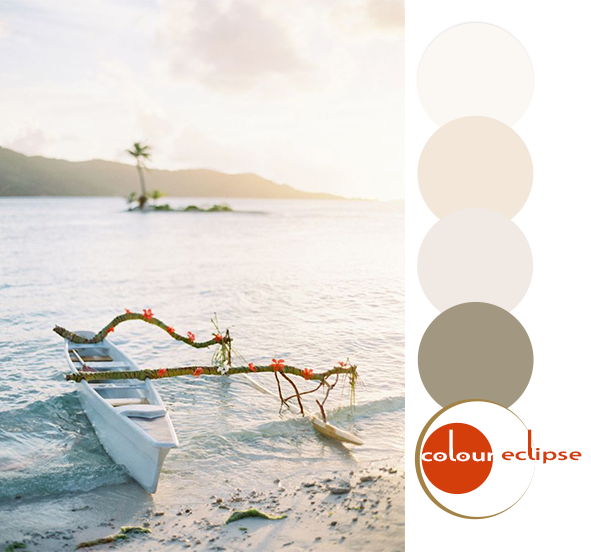canoe on shore of bora bora with color palette