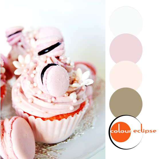 pink velvet cupcakes with coordinating color palette