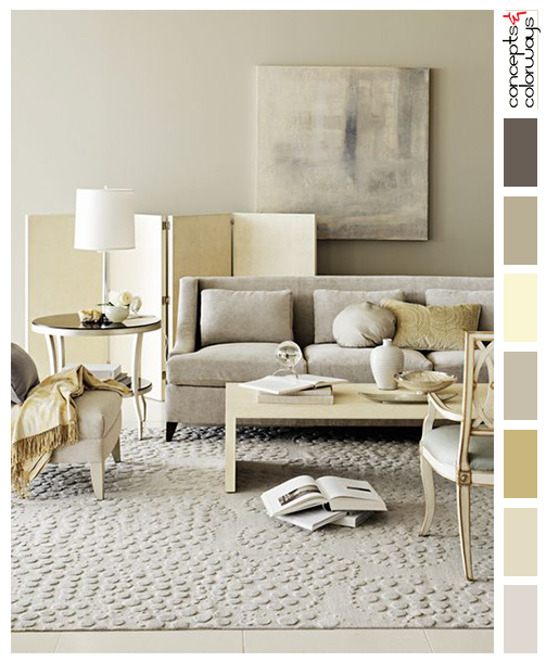 buttercream yellow and gray interior color palette