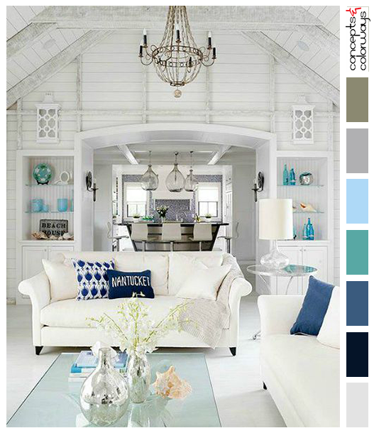 white shiplapped living room with blue accents