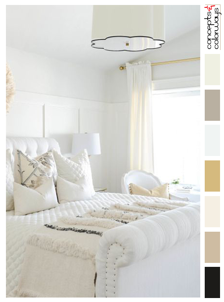 white bedroom with subtle accents