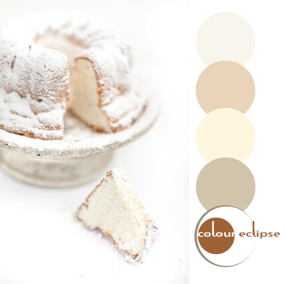 angel food cake with color palette