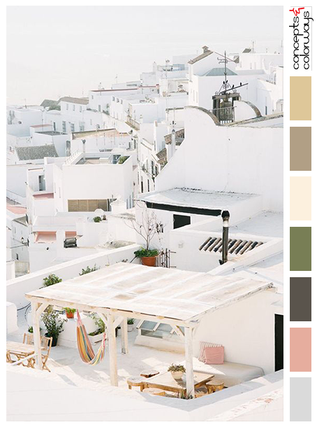 white dwellings with soft color palette