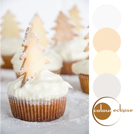 christmas vanilla cupcakes with color palettes