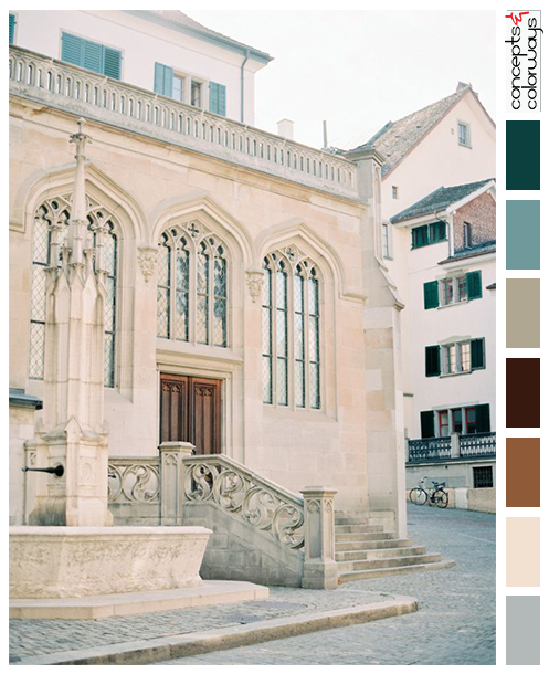 cathedral in zurich with color palette