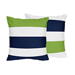 bright green and blue striped pillow