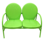 lime green retro metal tulip double chair