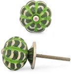 lime green and white cabinet knobs