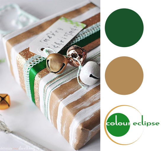 brown paper with white and green color palette