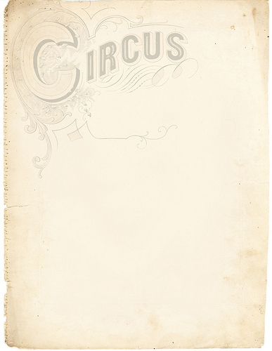 faded page with circus written on header